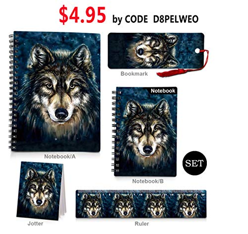 3D Kids Wolf Spiral Notebooks,Back to School Supplies,Hard Cover Spiral Note Pad (Notebook Ruler Bookmark Set)