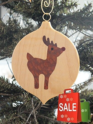 Red nose Reindeer, Christmas ornament, hand cut Marquetry wood (Marquetry Accents)