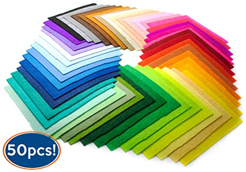 Bastex 50 Pieces Colored Craft Felt Fabric Sheets. 6 x 6 Inches with 1mm Thickness. Many Assorted Colors Pack for DIY Crafts. Stiff Sewing Material Squares for Patchwork.]()