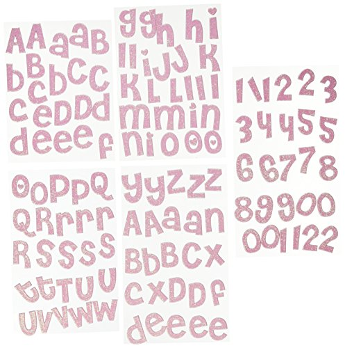 me & my BIG ideas Alpha Chips Designer Chipboard Letter Stickers, Cheri Alphabet Light Pink Glitter ()