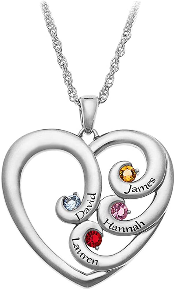 Sterling Silver Yin Yang Heart Pendant with Personalized Birthstones by JEWLR