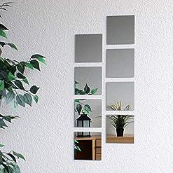 8 pezzi di piastrelle a specchio, 15×15 cm, decorazione murale, specchio murale