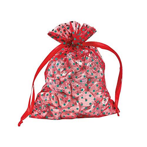 Fun Express - Christmas Polka Dot Organza Bags for Christmas - Party Supplies - Bags - Fabric & Textile Bags - Christmas - 12 Pieces