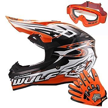 Wulfsport Casco Adulto del Motocrós de la Moto del Cetro ECE 2205 Aprobado + Gafas para