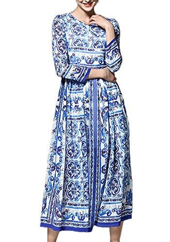 ezShe Women's 3/4 Sleeve Porcelain Printed Long Chiffon Dress, Printed M (Neck Long Porcelain)