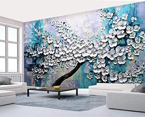 (Murwall Floral Wallpaper Embossed Oil Painting Blossom Wall Mural 3D Flower Wall Art Living Room Bedroom Cafe Design)