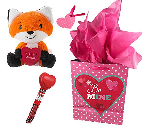 Valentines Gift Set with Hallmark Plush 9 Fox, Hersheys Chocolate, Gift Bag, Tissue and Tag Bundle (Hersheys Heart - Card Grocery Gift Outlet