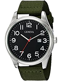 Men's GV/5007BKGN Easy To Read Date Function Dial Olive Green Nylon Strap Watch