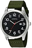 Geneva Men's GV/5007BKGN Easy To Read Date Function Dial Olive Green Nylon Strap Watch