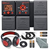Zoom B1Xon Bass Effects Pedal with Expression Pedal w/ Basic Accessories - Samson Stereo Headphones + Straight Guitar Cable FiberTique Microfiber Cleaning Cloth.