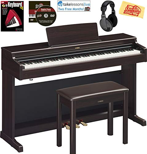 Yamaha Arius YDP-164 Traditional Console Digital Piano - Rosewood Bundle with Furniture Bench, Headphones, Fast Track Music Book, Online Lessons, Austin Bazaar Instructional DVD, and Polishing Cloth
