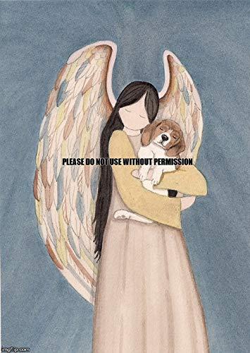 Lynch Beagle cradled by an Angel Folk Art Print