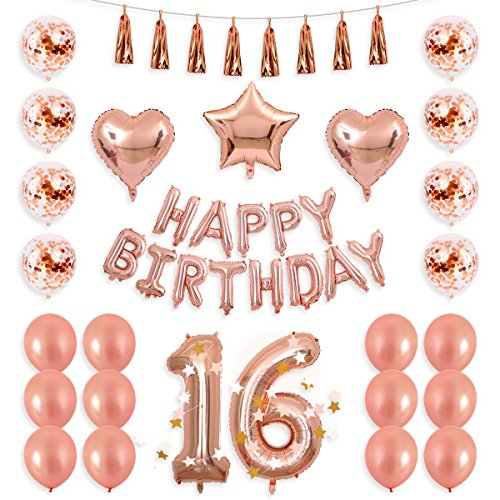 BALONA 40inch Rose Gold 16th Number Balloon 12inch Rose Gold Confetti Balloon with Happy Birthday Banner Star Balloon Heart Balloon Foil Rose Gold Tassel Garland for Birthday Party Decoration -