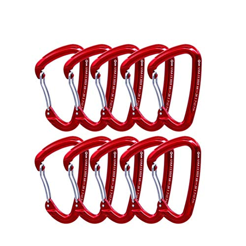 SleenPingst 10Pcs X 24Kn / 5400Lbs Aluminum Bent/Wire Gate Climbing Carabiner Lot Outdoor Rock Climbing Gear Buckle 10pcs Wire Gate
