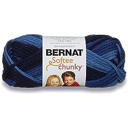 Bernat Softee Chunky Ombre Yarn - (5) Bulky Chunky Gauge 100% Acrylic - 2.8 oz - Denim - Machine Wash & Dry