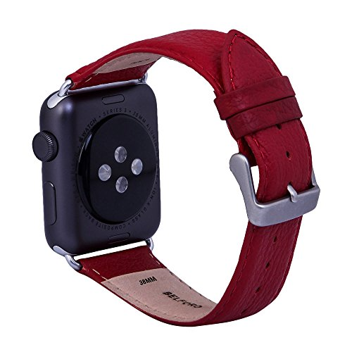 Italian Leather Cell Phone Strap - BELFORD Leather Band Compatible 38 mm Italian Leather Band for Apple iWatch, Strap Replacement Hypoallergenic Band with Stainless Metal Clasp for Apple Series 4 3 2 1 Sport (Hot Red)