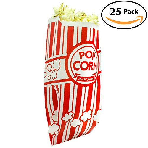Popcorn Bags. Coated for Leak/Tear Resistance. Single Serving 1oz Paper Sleeves in Nostalgic Red/White Design. Great Movie Theme Party Supplies or for Old Fashioned Carnivals & Fundraisers! (25)