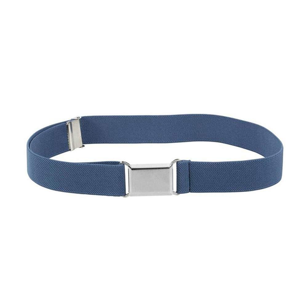 Alloet Fashion Kids Boys Girls Polyester Belt Stretch Magnet Buckle Belts (Blue)