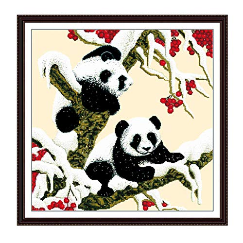 cici store DIY Counted Cross Stitch Kits-Two Pandas (62×62Cm),Adults Handmade Needlework Embroidery Set for Wall Decor ()