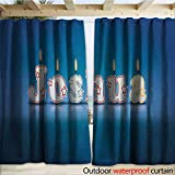 warmfamily Joshua Outdoor Curtain Festive Font Design as Burning Candles Surprise Birthday Party Celebration W108 x L108 Blue and Multicolor