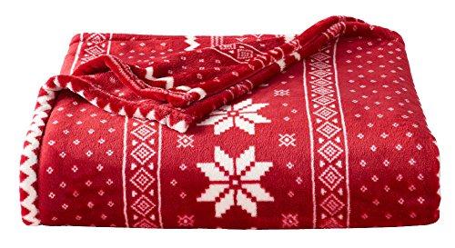 Red Snowflake Plush Blanket Fleece Throw -