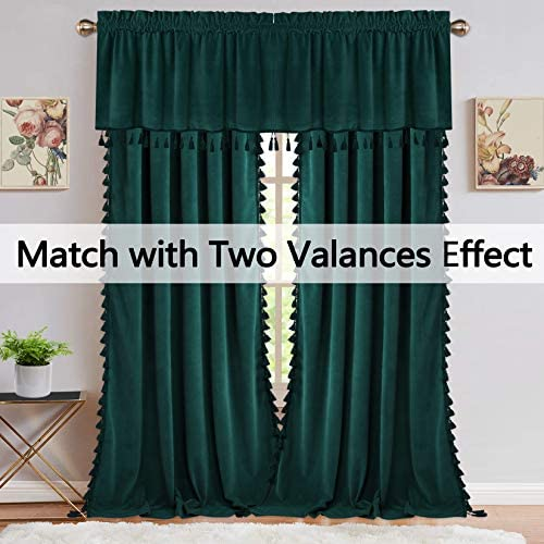 Soft Luxury Velvet Curtains with Tassels Room Darkening Rod Pocket Window Curtains for Living Room Bedroom, Green, 42 x 63 Inch, 2 Panels