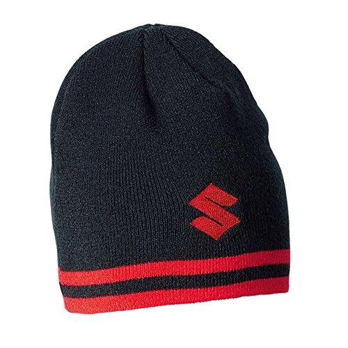 SUZUKI Team Beanie schwarz rot Wollmütze mit Fleecefutte ! Mütze