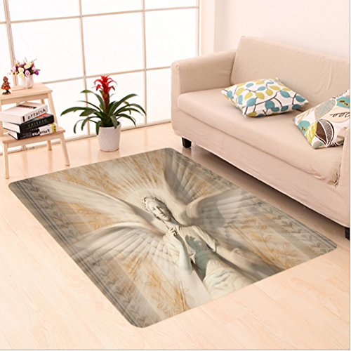 Nalahome Custom carpet lptures Decor Statue Of Angel Woman in Medieval Holy Cathedral Vintage Style Myth Decoration Tan area rugs for Living Dining Room Bedroom Hallway Office Carpet (5' X 8') by Nalahome