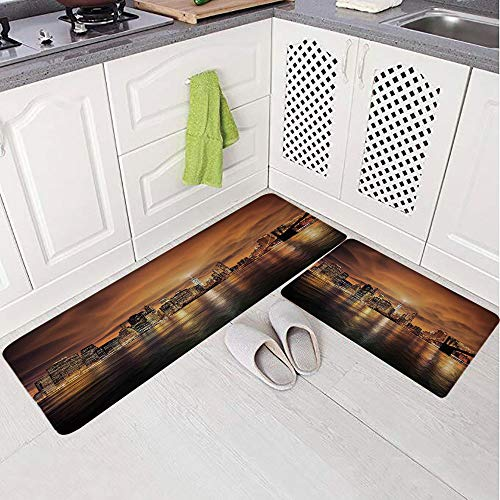 - 2 Piece Non-Slip Kitchen Mat Rug Set Doormat 3D Print,New York from Brooklyn Reflections Seaport Scenery,Bedroom Living Room Coffee Table Household Skin Care Carpet Window Mat,