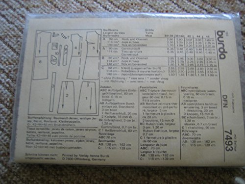 Burda vintage mehrgrößen Schnittmuster 7493 Damen Kleid 1 oder 2 tlg ...