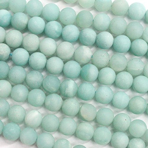 Natural Genuine Amazonite Unpolished Matte Round Real Gemstone Jewelry Making Loose Beads (8mm)