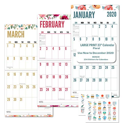 Large Print 2020 Wall Calendar (Floral) 12x23, Easy-to-Read Big Grid Calendar, Use Now to December 2020, Glossy Magazine Paper for Vivid Colors, Jumbo Wall Hanging Calendar for Seniors, Bonus Stickers (Wall Calendar Big Print)