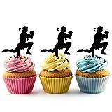 TA0206 Muay Thai Kickboxing Silhouette Party Wedding Birthday Acrylic Cupcake Toppers Decor 10 pcs
