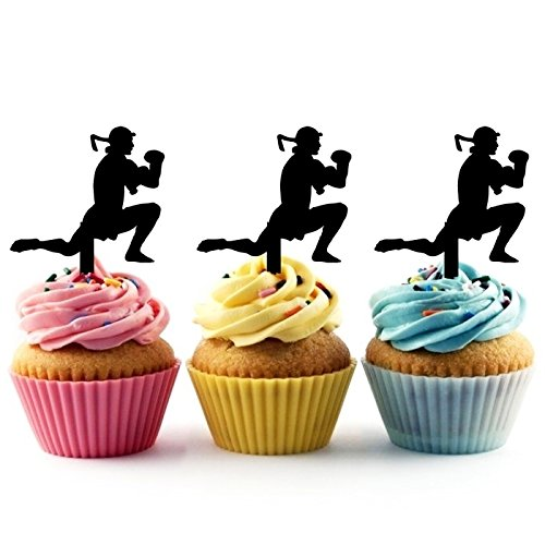 TA0206 Muay Thai Kickboxing Silhouette Party Wedding Birthday Acrylic Cupcake Toppers Decor 10 pcs by jjphonecase