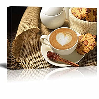 Canvas Prints Wall Art - a Cup of Cafe Latte and Cookies | Modern Wall Decor/Home Art Stretched Gallery Canvas Wraps Giclee Print & Ready to Hang - 12