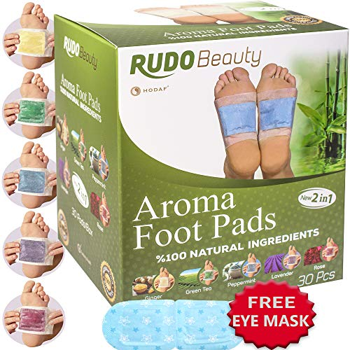 Foot Pads by Rudo Beauty | 100% Natural & Premium Ingredients | Aromatherapy and Body Relief | Apply, Sleep and Feel Better | 30 Pcs | Upgraded 2in1 New Design Pads