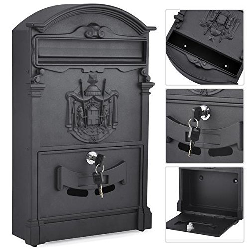 chinkyboo Mailbox Letter Box Mail Wall Mounted Vintage Outdoor Lockable Post Box Large,Black