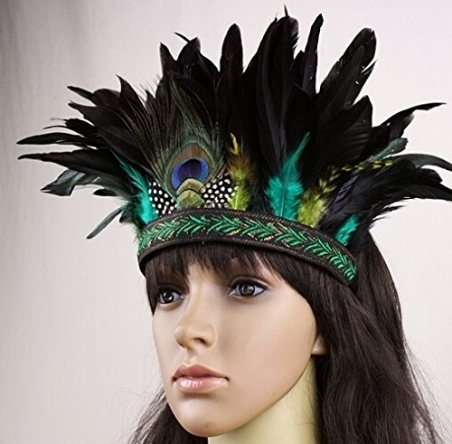 Lsinyan Hair Band Indian Peacock Feather Headdress Hair Headpieces Headband For Adults Kids Halloween Carnival
