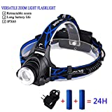 LED Headlamp with 3 Lighting Modes, HUNLEE 1800 Lumen USB Rechargeable Headlamp Flashlight with Zoomable Work Light, Waterproof LED Headlight Flashlight Sustainable Work 24 Hours for Running, Camping -  HELHUNLEE