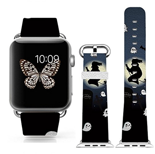 3C-LIFE Apple Watch Band Series 4 Edition/Hermès/Nike+ 42mm Women for Apple iWatch 4/3/2/1,Genuine Leather Strap Wrist Band Replacement for Apple Watch All Models 42mm-Halloween Theme Night]()