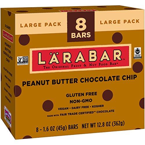 Larabar Gluten Free Bar, Peanut Butter Chocolate Chip, 1.6 oz Bars (8 Count) ()