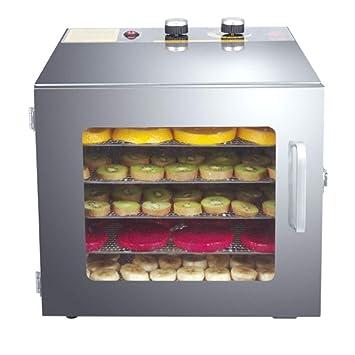 Secadora De Alimentos Secador de alimentos - Acero inoxidable, 6 capas, control de temperatura tipo perilla, sincronización inteligente, puerta de vidrio ...
