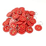 DealMux 50Pcs Red Plastic Round Luggage Supermarket Stock Split Ring Key Tags