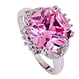 YAZILIND Women Romantic Valentines Day Wedding Pink Crystal Ring Gift For Lady
