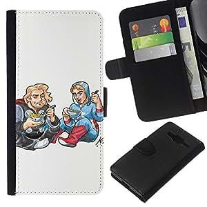 KLONGSHOP // Tirón de la caja Cartera de cuero con ranuras para tarjetas - Dibujo Art Kids Food Street Style Blonde - Samsung Galaxy Core Prime //