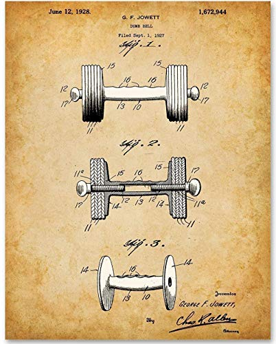 Dumbbell - 11x14 Unframed Patent Print - Makes a Great Gift Under $15 for Body Builders and Home Gym Decor