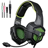 PS4 Gaming Headset,Sades SA807 Stereo PC Computer Headphones with Microphone Flexible,Volume Control Over Ear Noise Canceling 3.5mm Jack for New Xbox One Mac Gamer,Black/Green