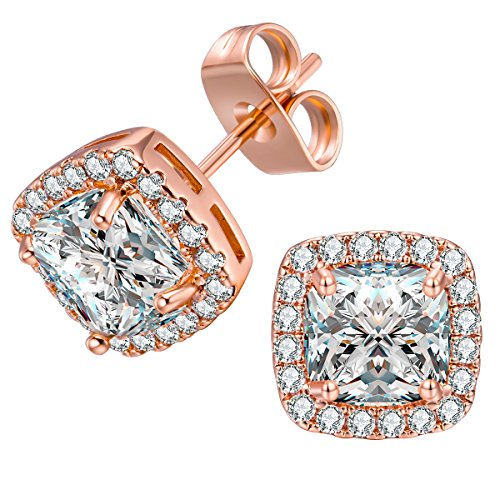 (VOLUKA 18K Rose Gold Plated Square Cubic Zirconia Stud Earrings 6mm for Women Teen Girls Jewelry)