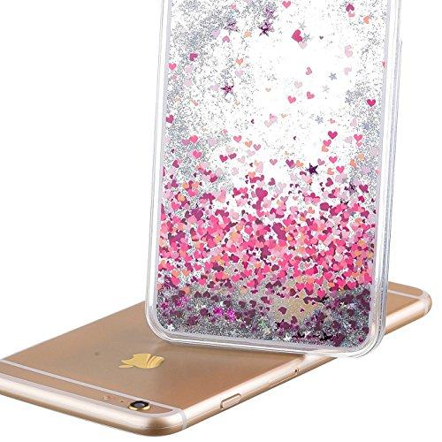 iPhone 7 Hülle Transparent,iPhone 7 Hülle Glitzer,iPhone 7 Case Slim,Schutzhülle Für iPhone 7 Hülle Transparent Hardcase,EMAXELERS 3D Kreative Liquid Bling Kristall Glitzer Hülle Case Für iPhone 7,iPh Heart Dandelion 1