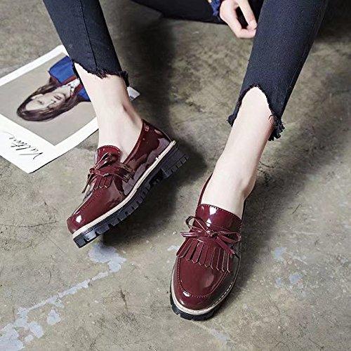 Mujer Cabeza de Las estilosos de Zapatos Zapatos Casual Zapatos Mujer Shoes Estaciones luz XXM Zapatos Zapatos Redonda Mujer Zapatos de Mujer de Vino Rojo Zapatos 35 de con Cuatro Mujer Planos wzqUx7R